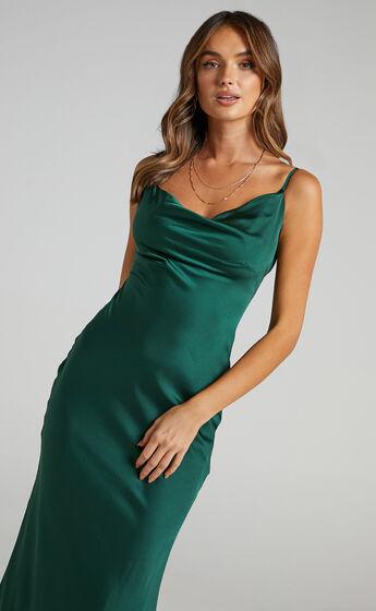Lunaria Dress in Emerald Satin