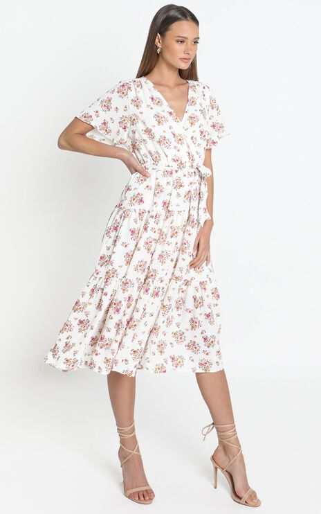 Ariana Dress in White Floral