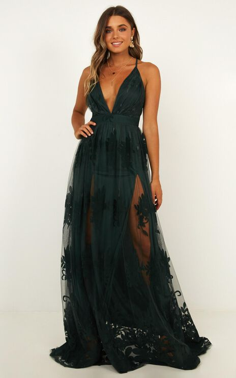 Promenade Maxi Dress In Emerald