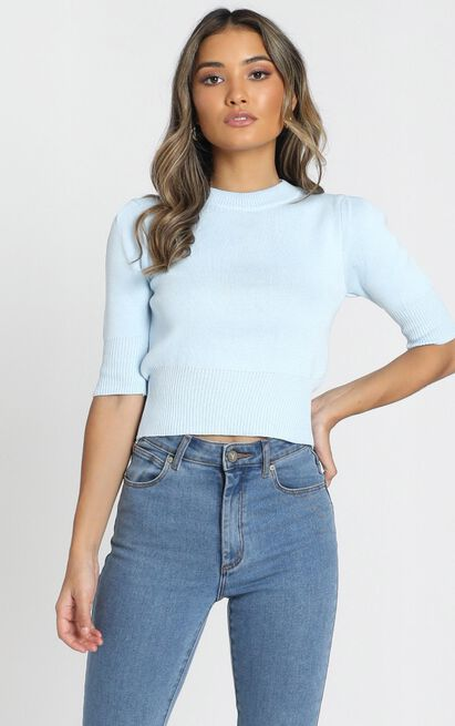 Rianne Knitted Top in blue - S/M, Blue, hi-res image number null