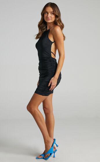 Cruiz Open Back Bodycon Mini Dress in Black