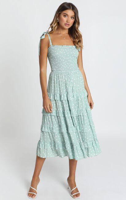 Giselle Dress in sage spot - 14 (XL), Sage, hi-res image number null