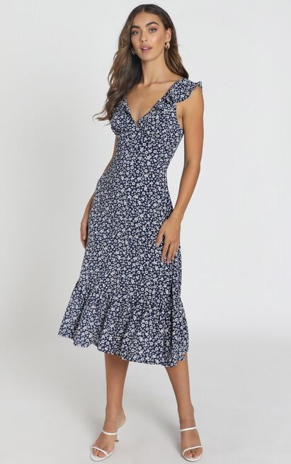 Livia Frilled Maxi Dress in navy floral - 6 (XS), Navy, hi-res image number null