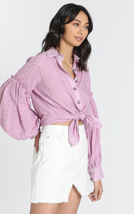 Beautiful Things Embroidery Shirt in Lilac