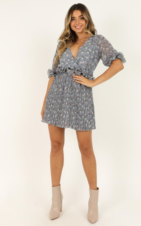 Give It A Spin Dress In Blue Print