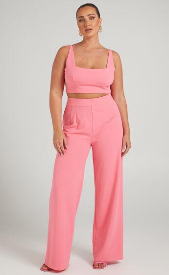 Elibeth Two Piece Wide Leg Set in Bubblegum Pink