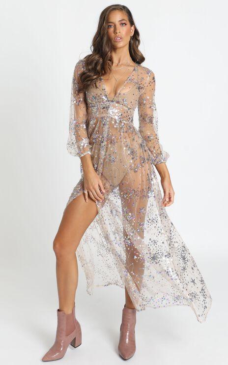 Crush On Me Maxi Dress In Multi Sequin