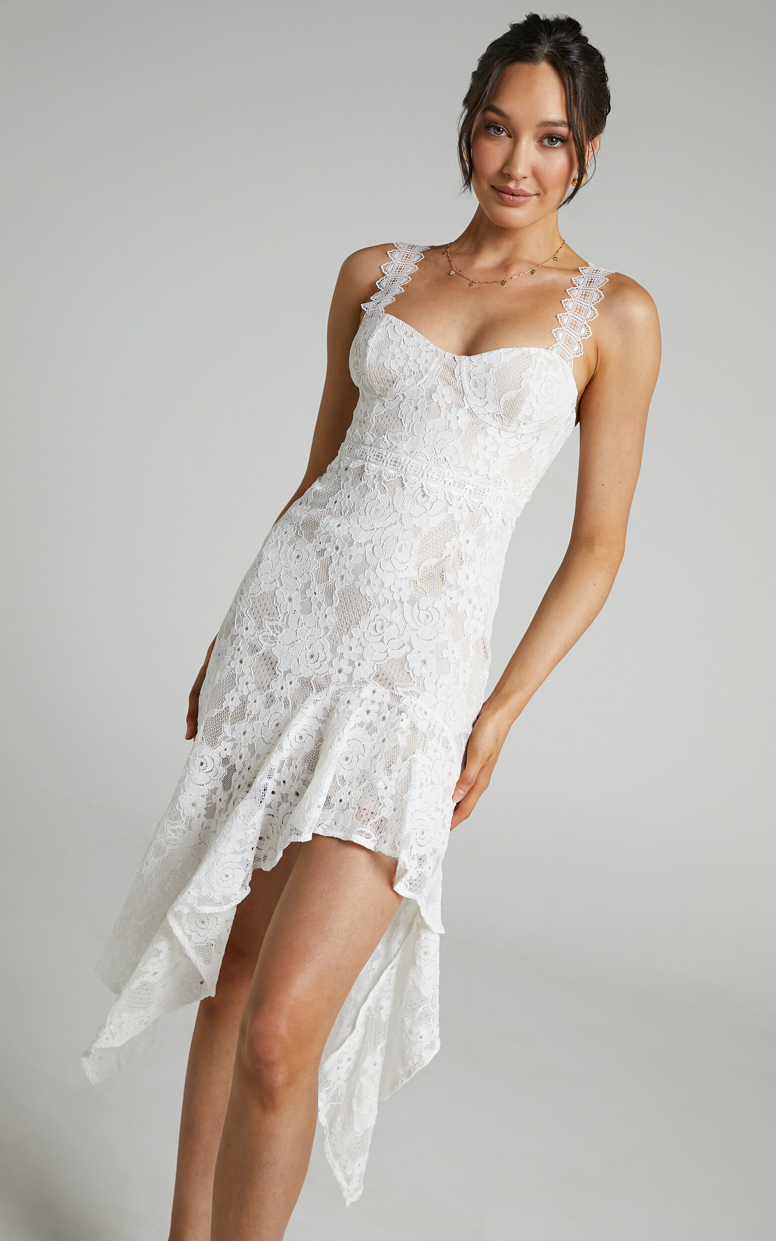 Leurah Sweetheart Aysmmetric Midi Dress in White Lace - 04, WHT1, super-hi-res image number null