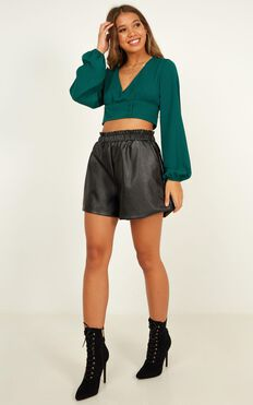 Old Conversations Shorts In Black Leatherette