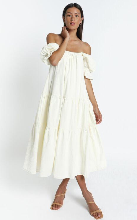 Zaharrah Dress in Cream Linen Look