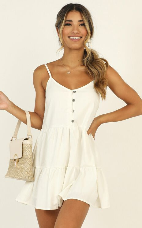 White Sands Strappy Mini Dress In White Linen Look