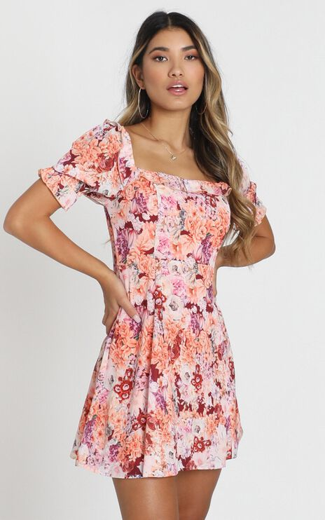 Fairy Floss Dress in Tangerine Floral