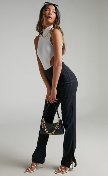 Joan Striped Split Hem Pants in Black Pinstripe