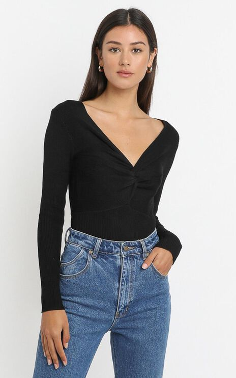Isabella Twist Front Bodysuit in Black