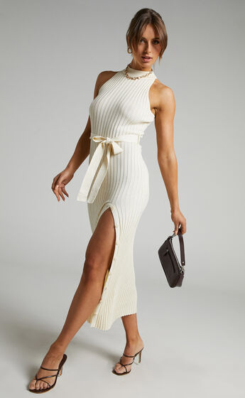 Verona High Neck Maxi Knit Dress with Button Up Split in Cream