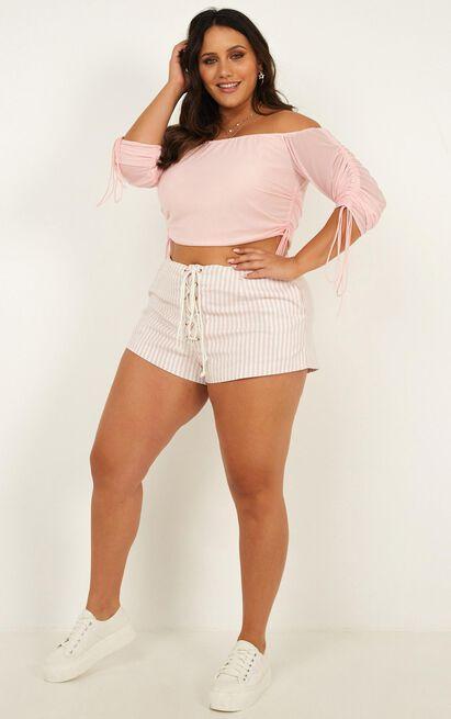 Never Go Back Shorts in pink stripe  - 14 (XL), Pink, hi-res image number null