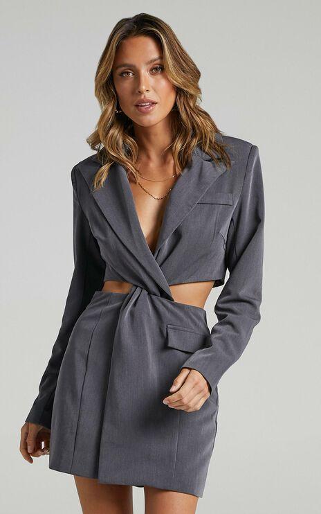 Amina Blazer Dress in Charcoal