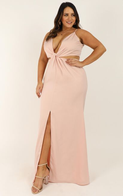 Simple Twist Of Fate Dress in pale pink satin - 20 (XXXXL), Pink, hi-res image number null