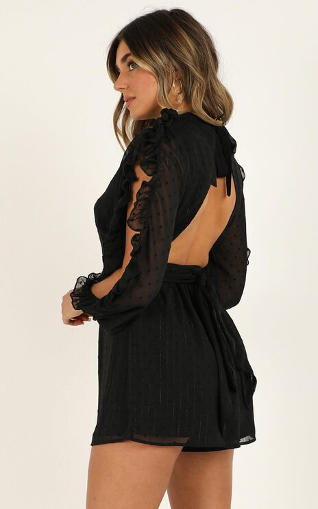 Text You Later Playsuit in black