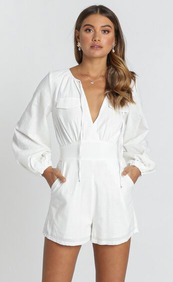 Moroccan Haze Playsuit In White