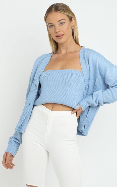 Poppy Knit Cardigan Set in Blue