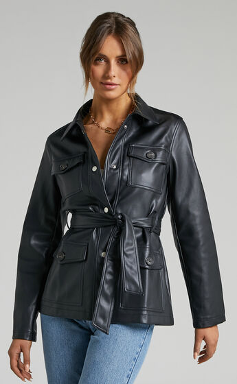 Taree Tie Up Jacket in Black