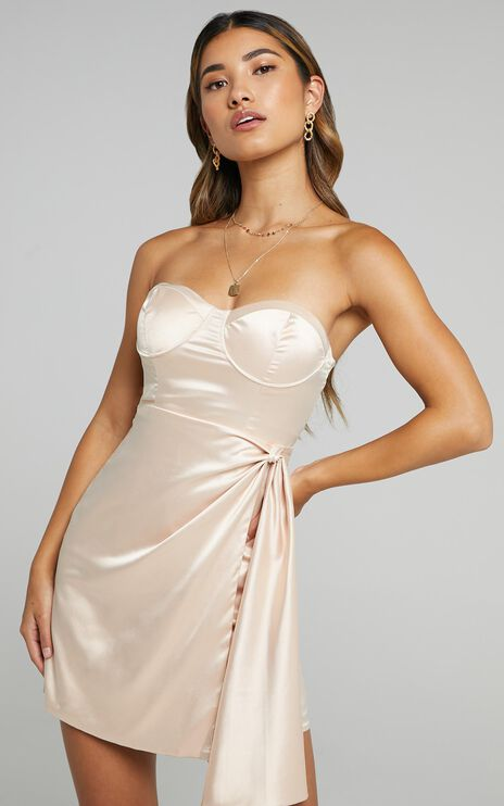 Virtus Dress in Champagne Satin