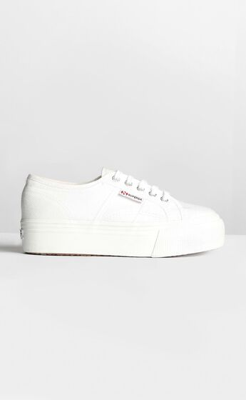 2790 ACOTW Linea Up And Down Platform Sneakers in White Canvas