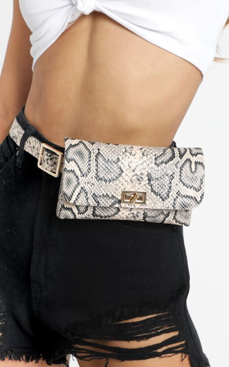 Secret Story Belt Bag In White Snake