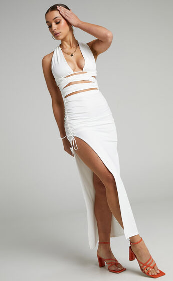 Vanessa Slinky Ruched Two Piece Set in White