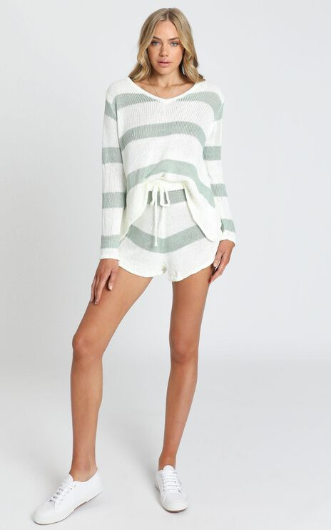 Callahan Knit Two Piece Set in Sage Stripe