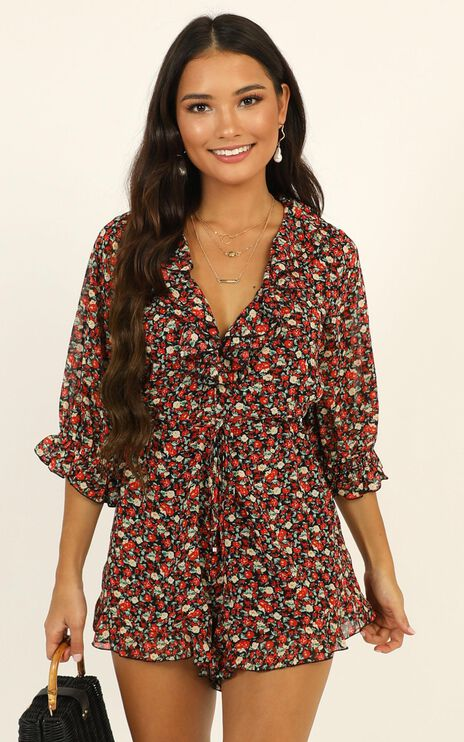 Full Of Life Playsuit in Black Floral