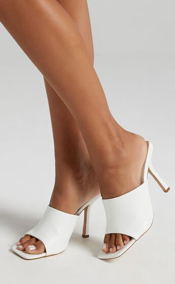 Public Desire - Zavia Heels in White PU