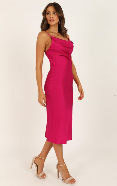 Before the Storm dress in hot pink satin - 16 (XXL), Pink, hi-res image number null