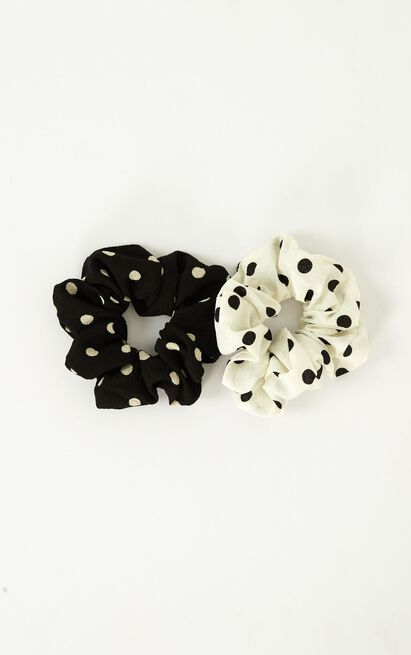 Think About It scrunchie 2 pack in black and white spot, , hi-res image number null