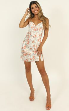 Call Of Love Mini Dress In Peach Floral