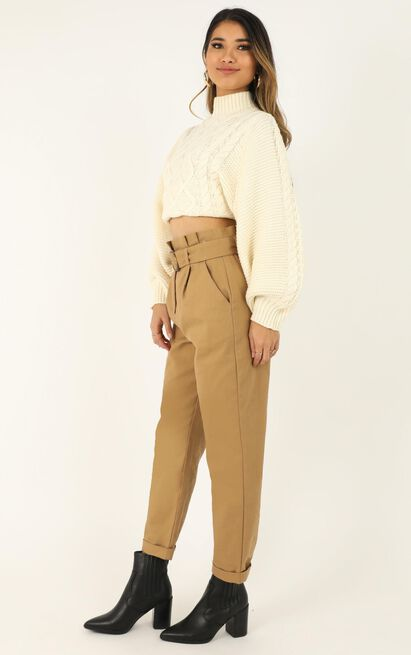 Creating tension Knit Jumper in cream - 14 (XL), Cream, hi-res image number null
