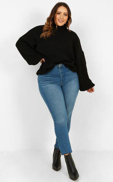 I Feel Love Oversized Knit Jumper in Black
