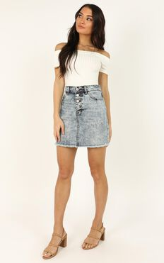 Drew The Line Denim Skirt In Acid Wash