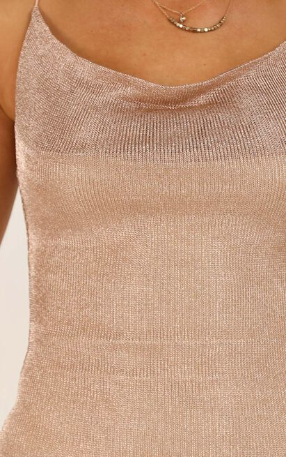 Taxi Is Here dress in rose gold lurex - 14 (XL), Rose Gold, hi-res image number null