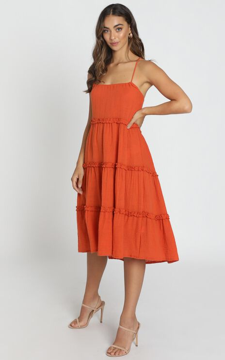Nadia Tiered Smock Dress in Rust