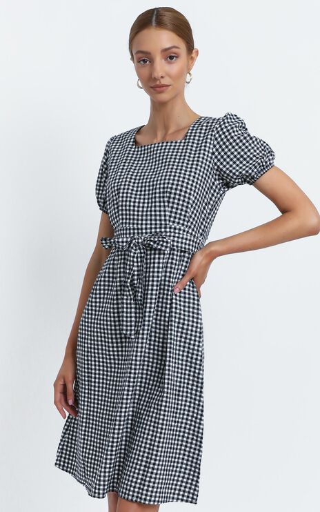 Desiree Dress in Black Check
