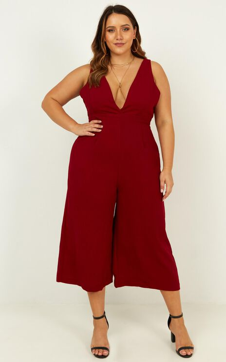 Right Beside Me Jumpsuit In Wine