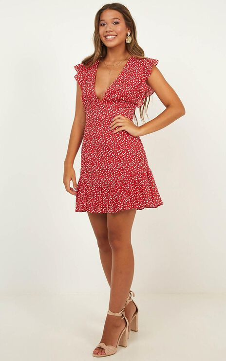 No Place Like Home Dress In Red Floral