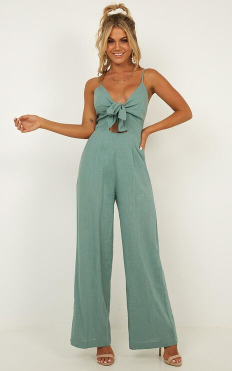 Lost And Loved Jumpsuit In Sage Linen Look