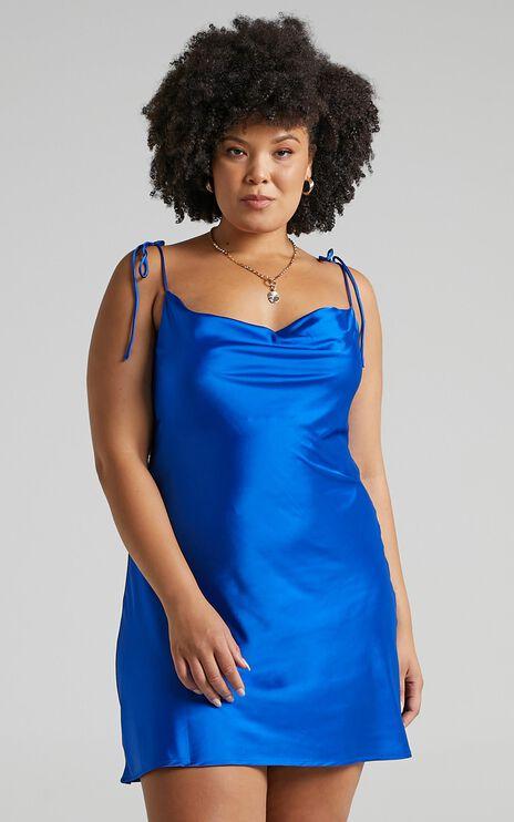 Tamisha Dress in Cobalt Satin