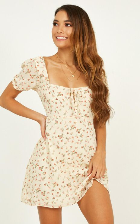 Sunset Boulevard Dress In Cream Floral