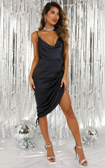 Its Cocktail Time Dress in navy satin - 20 (XXXXL), Navy, hi-res image number null