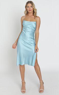 Tiggy Dress In Sky Satin