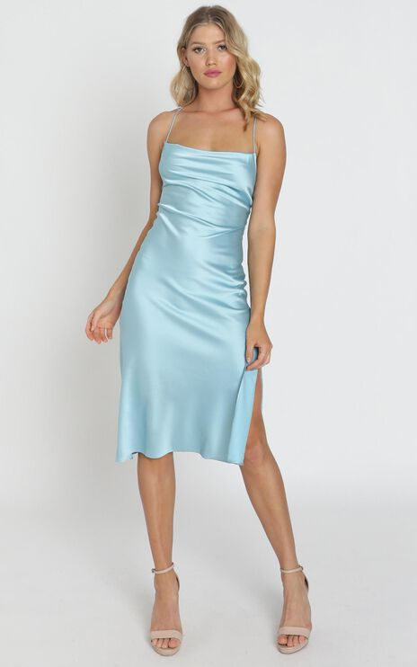 Tiggy Dress In Sky Satin